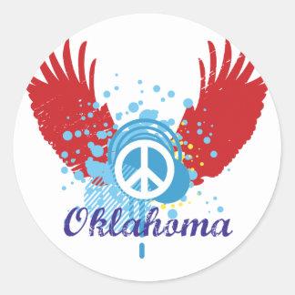 オクラホマのピースサイン ラウンドシール