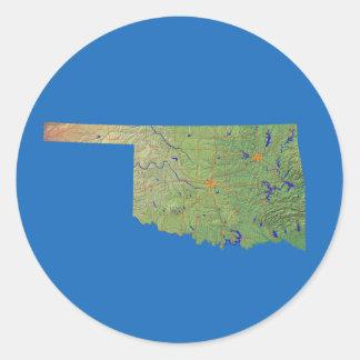 オクラホマの地図のステッカー ラウンドシール