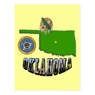 オクラホマの地図、シールおよび写真の文字 ポストカード