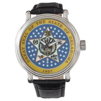 オクラホマの州のシールアメリカ共和国の記号の旗 腕時計