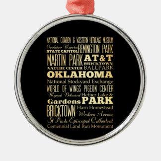 オクラホマの州のタイポグラフィの芸術のオクラホマシティー メタルオーナメント
