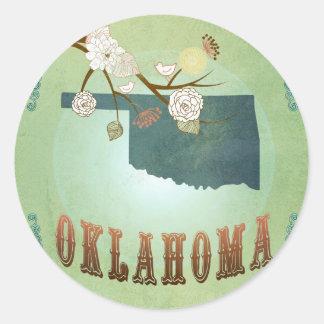 オクラホマの州の地図-緑 ラウンドシール