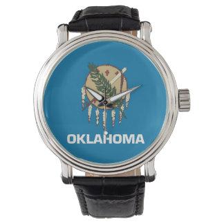 オクラホマの旗が付いている愛国心が強い腕時計 腕時計