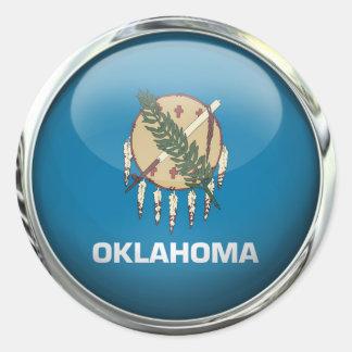 オクラホマの旗のガラス玉 ラウンドシール