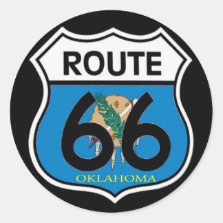 オクラホマの旗のルート66の盾 ラウンドシール