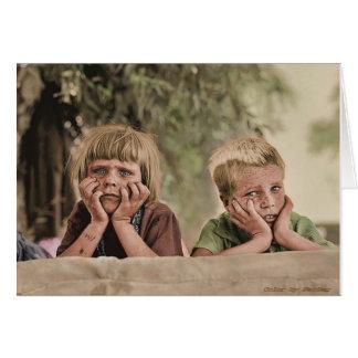 オクラホマの避難者の子供1936年 カード