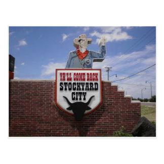 オクラホマシティーの家畜飼育場を去ること ポストカード