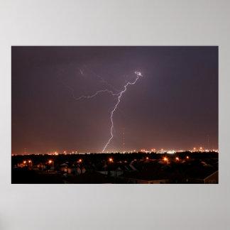 オクラホマシティーの稲妻の写真 ポスター