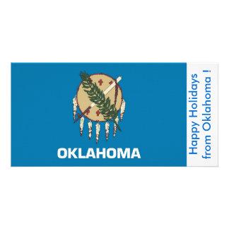 オクラホマ、米国からの幸せな休日の旗 カード