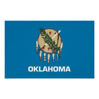 オクラホマ、米国の旗が付いているキャンバスのプリント ポスター