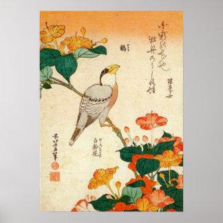 オシロイバナに小鳥、北斎の鳥およびMirabilis Jalapa、Hokusai ポスター