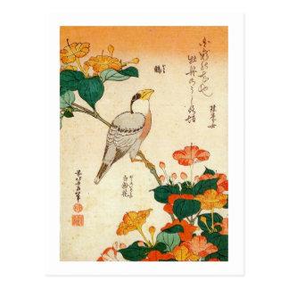 オシロイバナに小鳥、北斎の鳥およびMirabilis Jalapa、Hokusai ポストカード