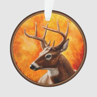 オジロ鹿シカの木びき台の狩り オーナメント