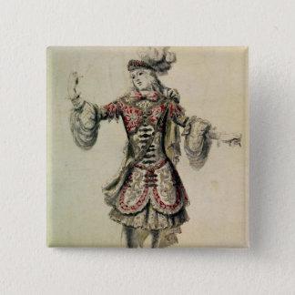 オスのダンサーのためのデザイン、c.1681を着せて下さい 5.1cm 正方形バッジ
