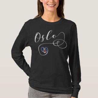 オスロのハートのTシャツ、ノルウェー Tシャツ