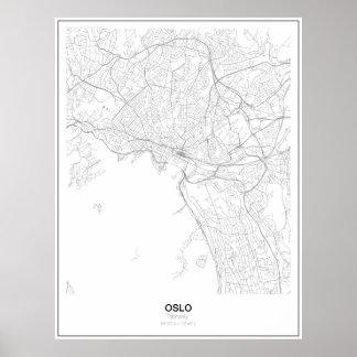 オスロ、ノルウェーの最小主義の地図ポスター(スタイル2) ポスター