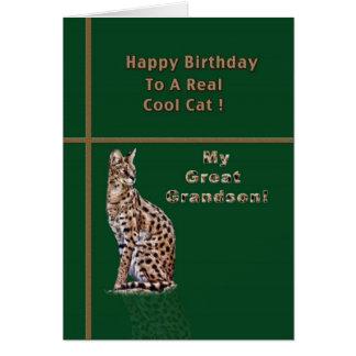 オセロットが付いているひ孫のバースデー・カード カード