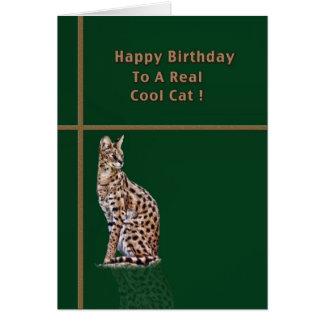 オセロットが付いているクールな猫のバースデー・カード カード