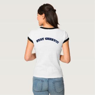 オタク系の私達を3人のオタクのロゴのティーの女性とどまって下さい Tシャツ