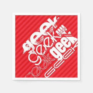 オタク; 深紅の赤のストライプ スタンダードカクテルナプキン
