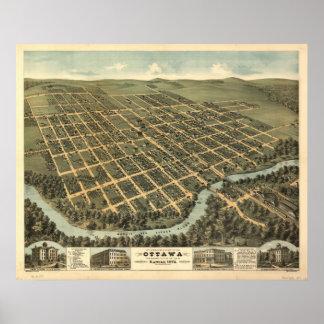 オタワカンザス1872のパノラマ式の地図 ポスター