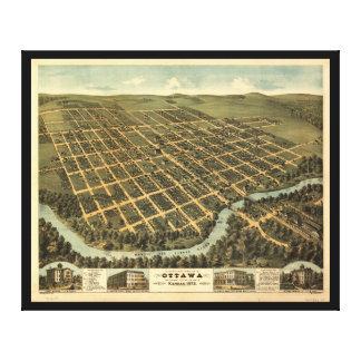 オタワカンザス(1872年)の鳥瞰的な概観 キャンバスプリント