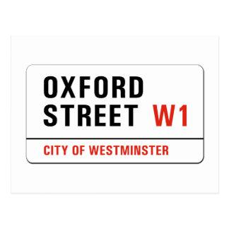 オックスフォードの通り、ロンドンの道路標識 ポストカード