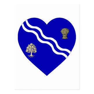 オックスフォードシャーの旗のハート ポストカード
