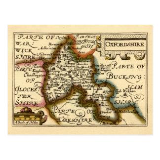 オックスフォードシャー郡地図、イギリス ポストカード