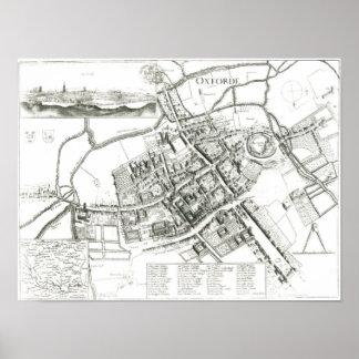 オックスフォード1643年の地図 ポスター