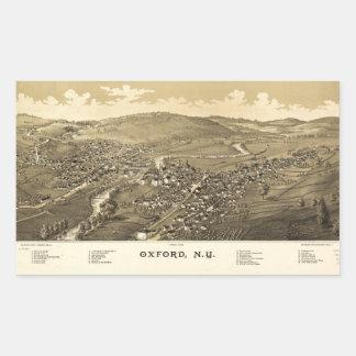 オックスフォード、ニューヨーク(1888年)の空中写真 長方形シール