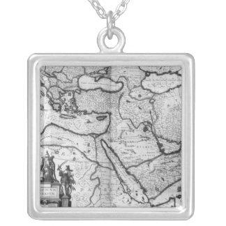 オットマン帝国の地図 シルバープレートネックレス