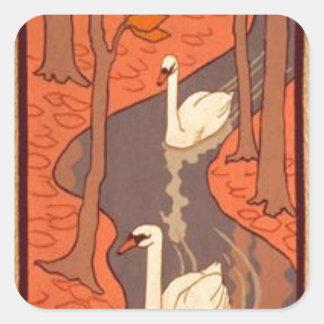 オットーEckmann著5羽の白鳥 スクエアシール