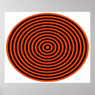 オップアートの中心点のオレンジ黒 ポスター