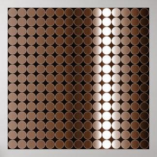 オップアートの勾配の水玉模様の白黒ブラウン ポスター