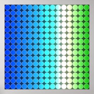 オップアートの勾配の水玉模様の青緑の白 ポスター