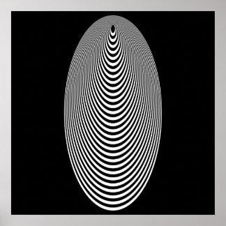 オップアートの同心の卵の白黒終わる黒 ポスター