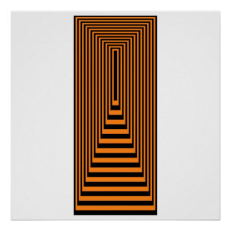 オップアートの同心の長方形のオレンジ終わる黒 ポスター