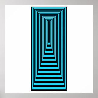 オップアートの同心の長方形の青い終わる黒 ポスター
