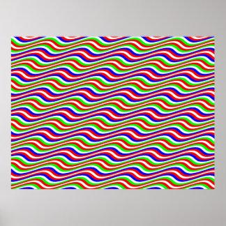 オップアートの多彩な横の正弦は縞で飾ります ポスター