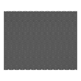 オップアートの横の波白黒01 ポスター