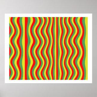 オップアートの流れるストライプの赤い緑の黄色 ポスター