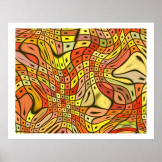 オップアートの渦巻く正方形09 ポスター