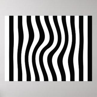 オップアートの白黒歪んだ縞で飾ります ポスター