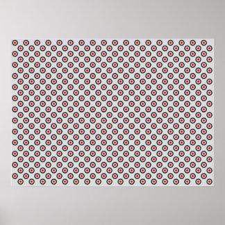オップアートの鮮やかな円赤く白く黒い灰色のBkg ポスター