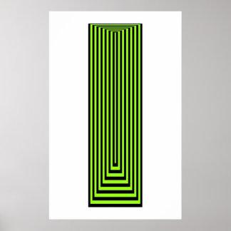 オップアートの黒上の同心の長方形の緑 ポスター