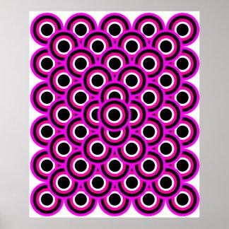 オップアート千の目の紫色の白い黒 ポスター