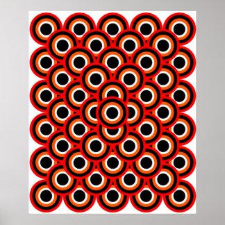 オップアート千の目の赤いオレンジ白い黒 ポスター