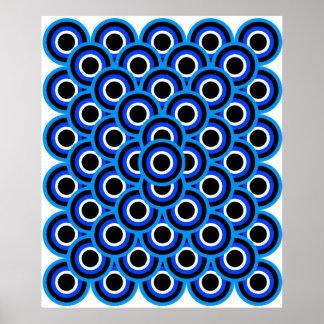 オップアート千の目の青い淡いブルーの白い黒 ポスター
