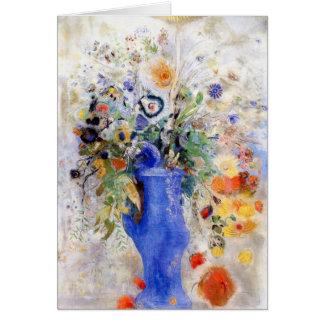 オディロン・ルドン-パステル調の青いつぼの大きい花束 カード